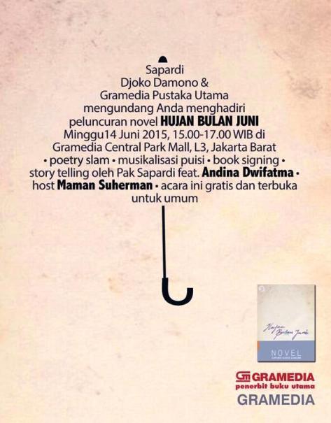 Peluncuran-Novel-Sapardi-Djoko-Damono-Hujan-Bulan-Juli-Gramedia-Central-Park