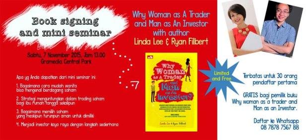 Mini-Seminar-Wanita-Saham-Why-Woman-As-A-Trader-And-Man-as-An-Investor-Linda-Lee-Ryan-Filbert-Gramedia-Central-Park