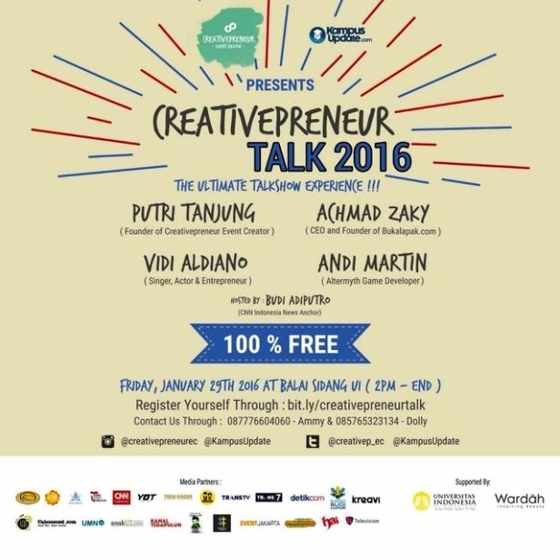 Creativepreneur-Talk-2016-BukaLapak-Vidi-Aldiano-Depok-Januari-2016