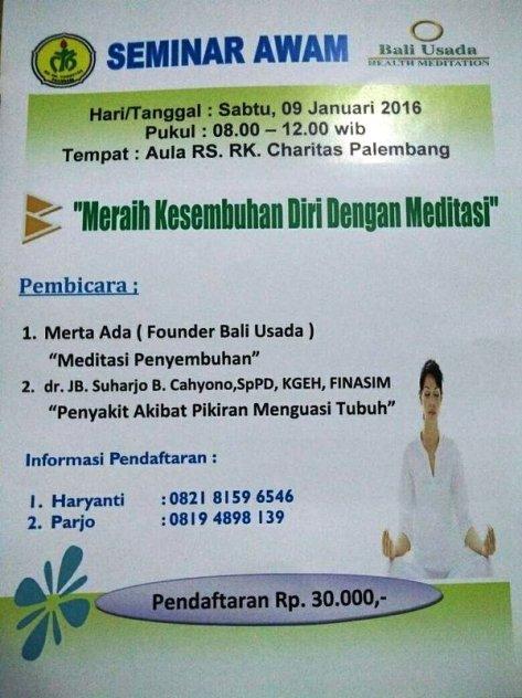 Seminar Awam-Meditasi-Bali-Usada-Charitas-Palembang