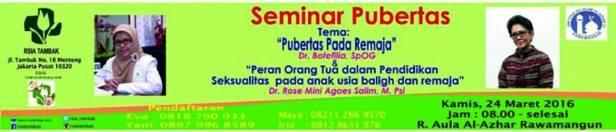 Seminar-Pubertas-RSIA -Tambak-Al-Azzhar-Jakarta-Maret-2016