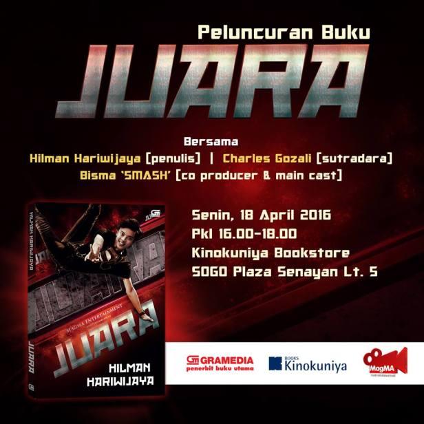 Peluncuran-Novel-JUARA-Kinokuniya-Bisma-Smash-Hilman-Jakarta-April-2016