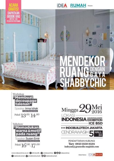 Workshop-Talkshow-Dekorasi-Ruang-Shabby-Chic-INDOBULIDTECH-ICE-BSD-MEI-2016